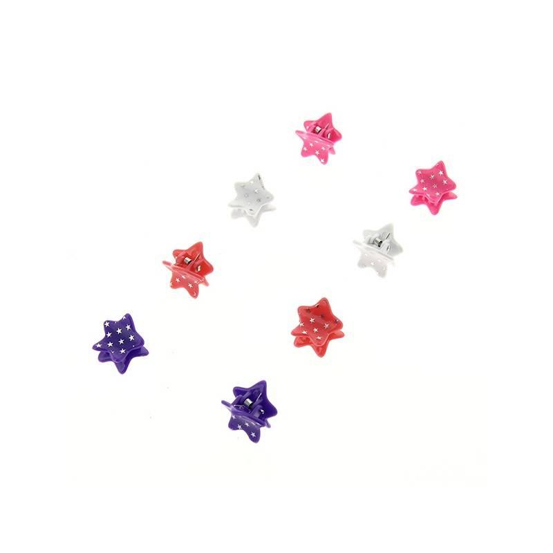 Queen Pam Pinces étoiles x8 Blanche Rose Violette Corail, Pince